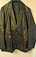 "Black Real Genuine leather Blazer Jacket Size 46"" chest"