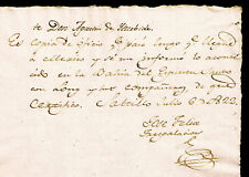 AUTOGRAPH OF THE FIRST GOVERNOR OF TEXAS JOSE FELIX TRESPALACIOS AUTHENTIC 1822