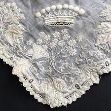 Rare Mouchoir Ancien Broderie Couronne Comtale XIXè Antique Handkerchief 19thC