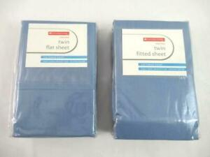 Lot of 2 Everyday Living Cotton Rich Twin Bed Sheets Flat Fitted Blue 250 Thread