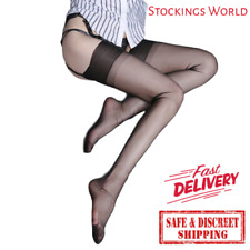 Fully Fashioned Stockings BLACK Non Stretch Seamless 5 Denier Medium UK NEW