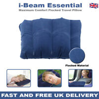 I-Beam Essential Flocked Inflatable Travel Pillow Blow Up Camping Beach Cushion