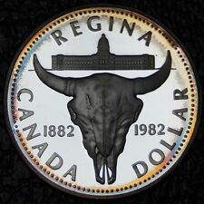 1982 CANADA -$1 DOLLAR -SILVER FROSTED PROOF-Nice Tone-Longhorn Skull-Regina-NCC