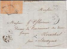 Schweiz MeFBrief Zürich-Stuttgart 2 x 20 Rappen Strubel 1854 - Raute o
