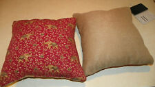 Pair of Red Tan Elephant Print Decorative Pillows  16 x 16