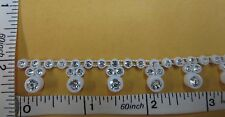 Rhinestone Trimming Sew on with Plastic cup base, Glass Material Stone Trim 1yd