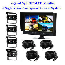 "4x 18LED Reversing Camera + 9"" LCD 4CH Quad Split Monitor 24V Car Rear View Kit"