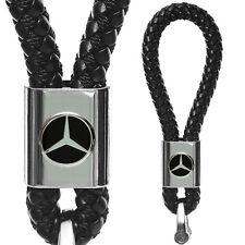 For Mercedes Benz Black Leather Metal Keychain With Logo Emblem Decoration Gift