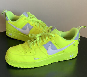 Nike Air Force 1 07 LV8 Utility Volt 2 Overbranding Size 13 AJ7747-700 Off White