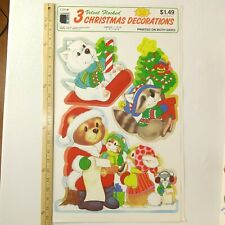Vintage Velvet Flocked Christmas Die Cut Two Sided Cleo Gibson New Animals