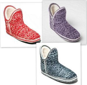 Gilligan & O'Malley Cozy Bootie Slipper Red/Navy/Purple knit