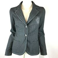 BB Dakota Charcoal Gray Striped Blazer Button Front Pins Pockets Women Small