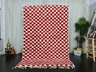 "Handmade Moroccan Beni Ourain Rug 5'3""x7'9"" White Red Checkered  Berber Carpet"