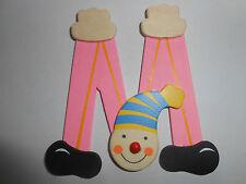 Lettre prenom de porte clown en bois M ROSE, décoration de porte jeu et jouets**