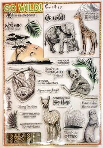 Go Wild! Crafty Individuals Cling Stamps - Animal Theme  28 Pcs  NEW Crafting