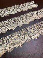 3 Large Pieces of Antique Point De Gaze Lace - French - Fabulous & Stunning!