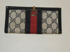 Vintage GUCCI  Navy Blue Enameled  Logo Wallet - Italy