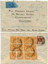 MALAYA 1933 DUTCH AIRMAIL ALOR STAR 4c BLOCKS + 5c STRAITS FRANKING to SCOTLAND
