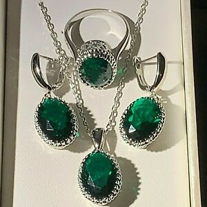 White Gold gf Pendant Chain Dangle Earrings Ring SET Emerald & CZ BOXED RRP £49