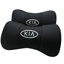 2Pcs Black Color Real Leather Car Seat Neck Pillow Car Headrest Fit For KIA Car