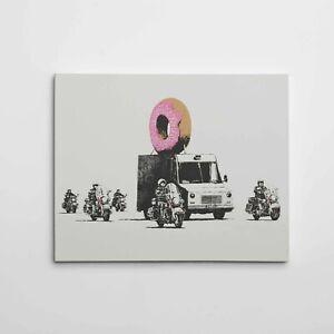 "16X20"" Gallery Art Canvas: Banksy 'Donut' Graffiti Stencil Political Street Arts"