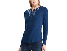 CHAPS Women's Embroidered 100% Cotton Blue Henley Top. Plus Size 2X. $66. NWT