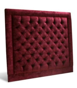 """44"""" inch CASPIAN  Tall Wall Mounted Headboard in Crushed Velvet WITH DAIMOND"""