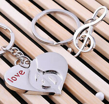FD1132 Music Note Heart Metal Keychain Keyring Key Ring Cute Gift 1 Pair 2pcs