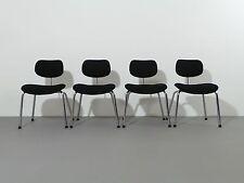 Egon Eiermann 4 x Chair Se 49 Wild & Spieth Woll-Stoff Black