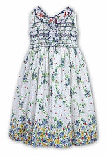 SARAH LOUISE GIRL WHITE/BLUE/YELLOW FLORAL RUFFLE SMOCKED DRESS AGE 6 YRS BNWT