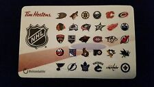 2 x Tim Horton's gift cards - All 30 NHL Logos on 1 card - Limited 2016 edition