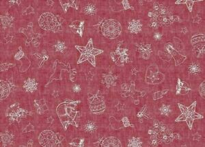 CHRISTMAS WINE RED GINGERBREAD MAN WHITE ANGEL HEARTS STAR PVC VINYL TABLE CLOTH