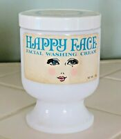 Vintage 1960'S  Happy Face Facial Washing Cream by Toni Co Milk Glass Jar Vanity