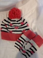 Gap Toddler Girl pom pom heart and stripes beanie hat and mittens size s/m