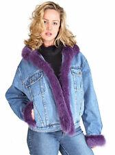 Real Fox Fur Trimmed Denim Jacket for Women Medium