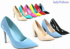 NEW Women's Pointy Toe  Stiletto Chunky High Heel Dress Pump Shoes Size 5.5 - 11