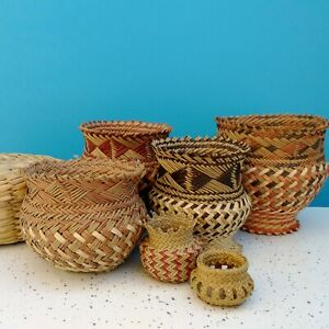 Lot of Woven Round Colorful Sweetgrass Coil Basket Art Pieces Ethnic Artisan Vtg