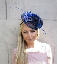 Navy Royal Light Blue Feather Flower Sinamay Disc Saucer Hat Fascinator 5680