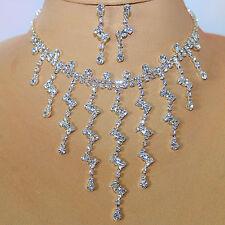 Schmuckset Collier + Orecchini, strass, argento, gioielli da sposa matrimonio bollywood 27