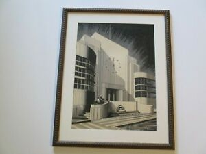 ANTIQUE AMERICAN PAINTING DRAWING ART DECO REGIONALISM POINTILLISM CITY BUILDING
