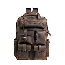 """Vintage Leather Travel Outdoor Backpack Military Rucksack 15"""" Laptop Men Bag"""