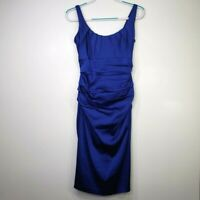 Suzi Chin for Maggy Boutique Women's Dress 6 Blue Ruched Sleeveless
