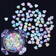 AB Color 3D Nail Rhinestones Colorful Heart Design Flat Back Resin Decoration