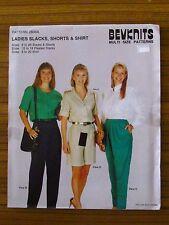 BEVKNITS PATTERN - 2800A LADIES SLACKS SHORTS & SHIRT PANTS SIZES 8-26 UNCUT