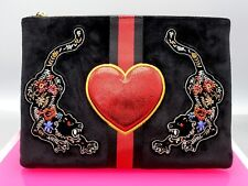 Sam Edelman Foo Tiger Evening Clutch 2 section hand beaded & Embroidered nw tags