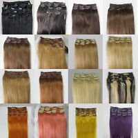 """AAA+ Womens 15"""" Medium Remy 15Clips In Human Hair Extensions Straight Hair 75gr"""