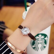 Faux Leather Women`s Rose Gold Brown Delicate Slim Analog Quartz Wrist Watches