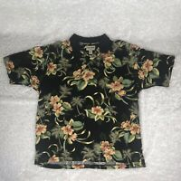COOKE STREET Honolulu Men's Hawaiian Polo Black Floral Cotton Shirt 2XL