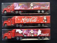 "COCA COLA CHRISTMAS TRUCK DIECAST MODELS. SET OF 3 MORAVIA 7"" LORRY & TRAILER"