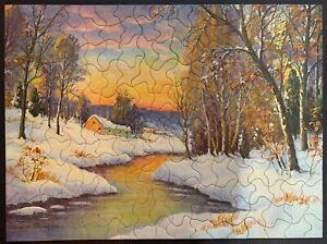 "Vintage TUCO Deluxe Picture Puzzle ""SUNSET O'ER THE SNOW""  Complete 12""x16"""